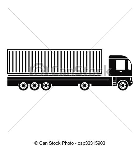 Container at the dock with truck black simple icon.
