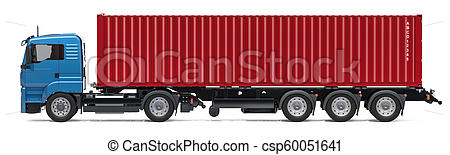 Container truck, side view. 3D rendering.