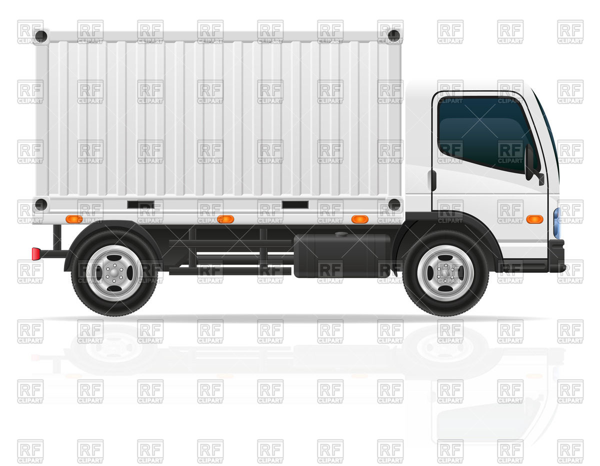 Small cargo truck with white container Stock Vector Image.