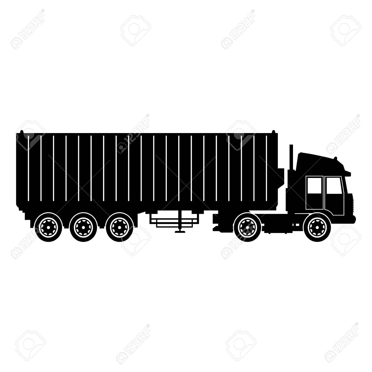 Cargo delivery truck with cargo container shipping design, vector...