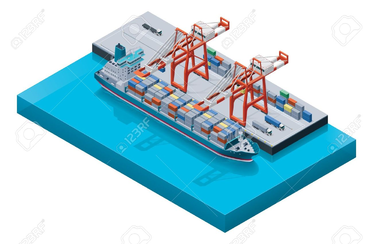 Vector Container Ship With Cranes Royalty Free Cliparts, Vectors.