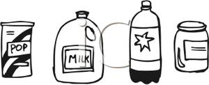 and White Containers Clip Art Image.
