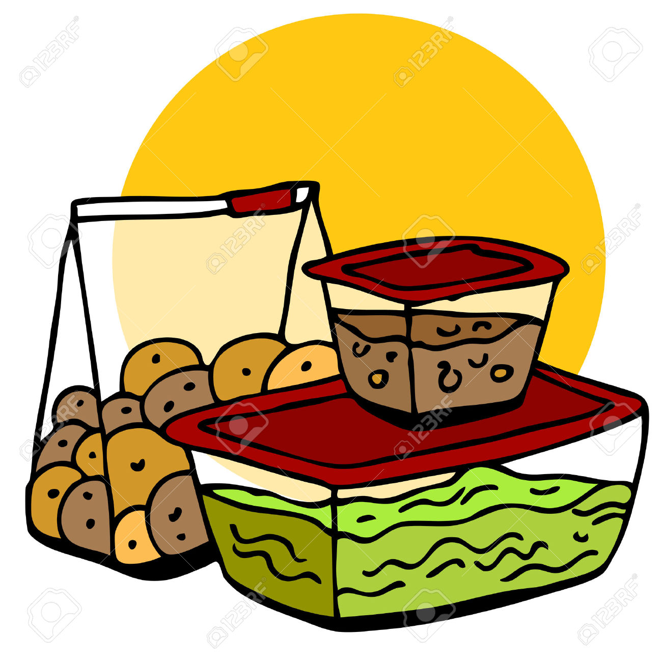 Plastic food storage containers clipart.