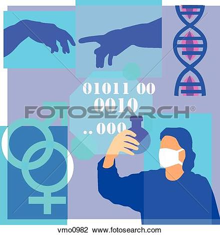 Clip Art of Montage illustration about genetic research containing.