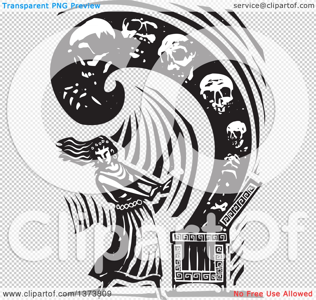 Clipart of a Black and White Woodcut Scene of Pandora Opening a.