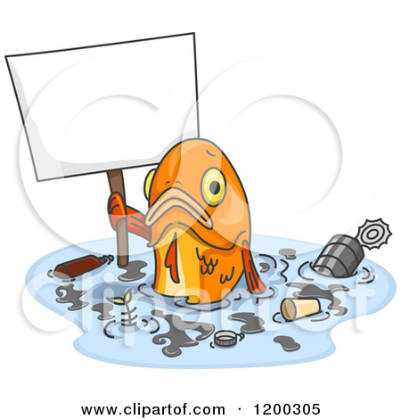 Cartoon of a Sad Fish Holding a Sign in Polluted Water.
