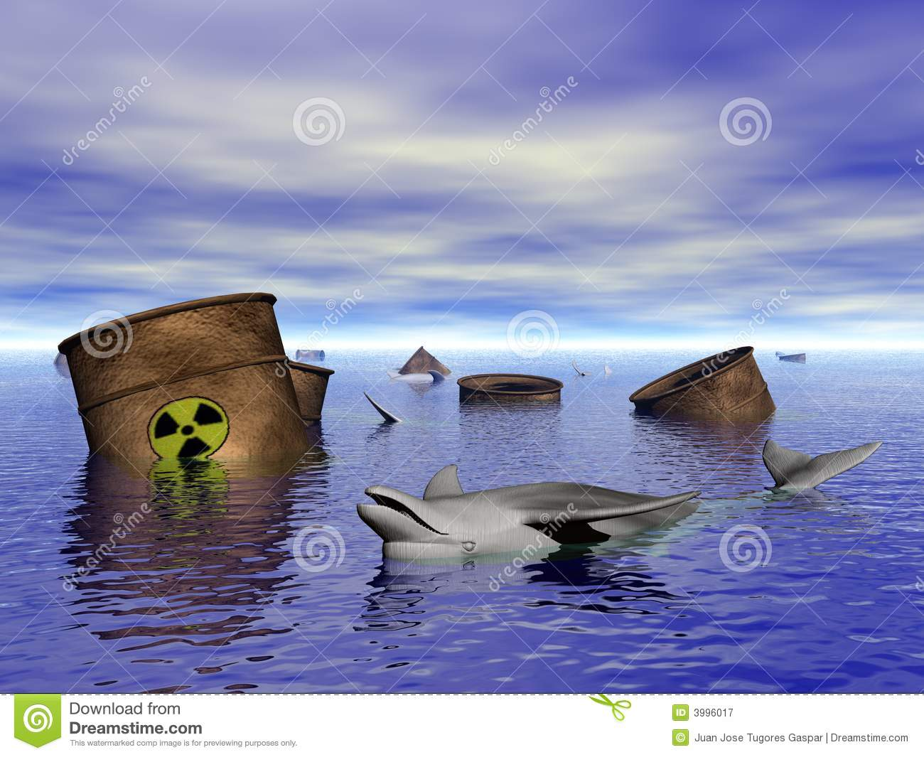 Dolphin In Contaminated Water Royalty Free Stock Photography.