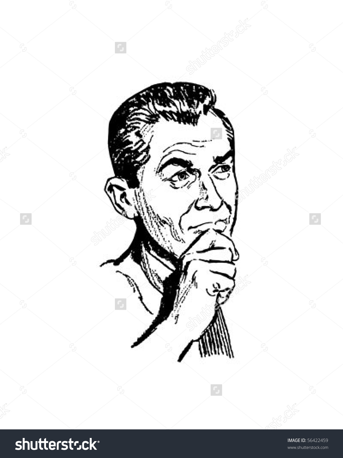 Pondering Man Retro Clip Art Stock Vector 56422459.