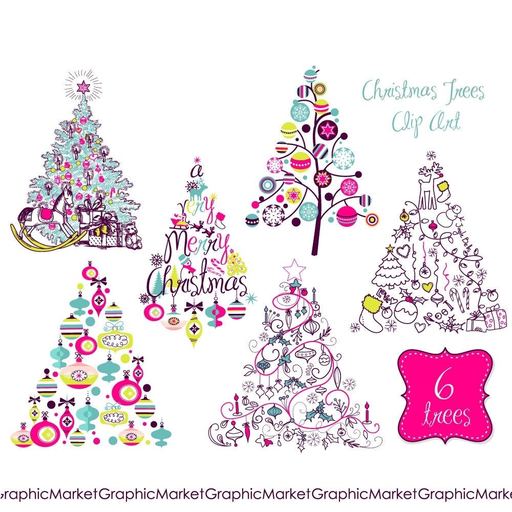 Contemporary Christmas Clip Art.