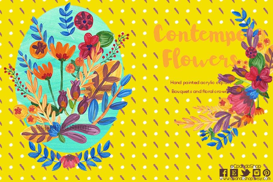 Contemporary Acrylic flowers clipart ~ Illustrations ~ Creative Market.