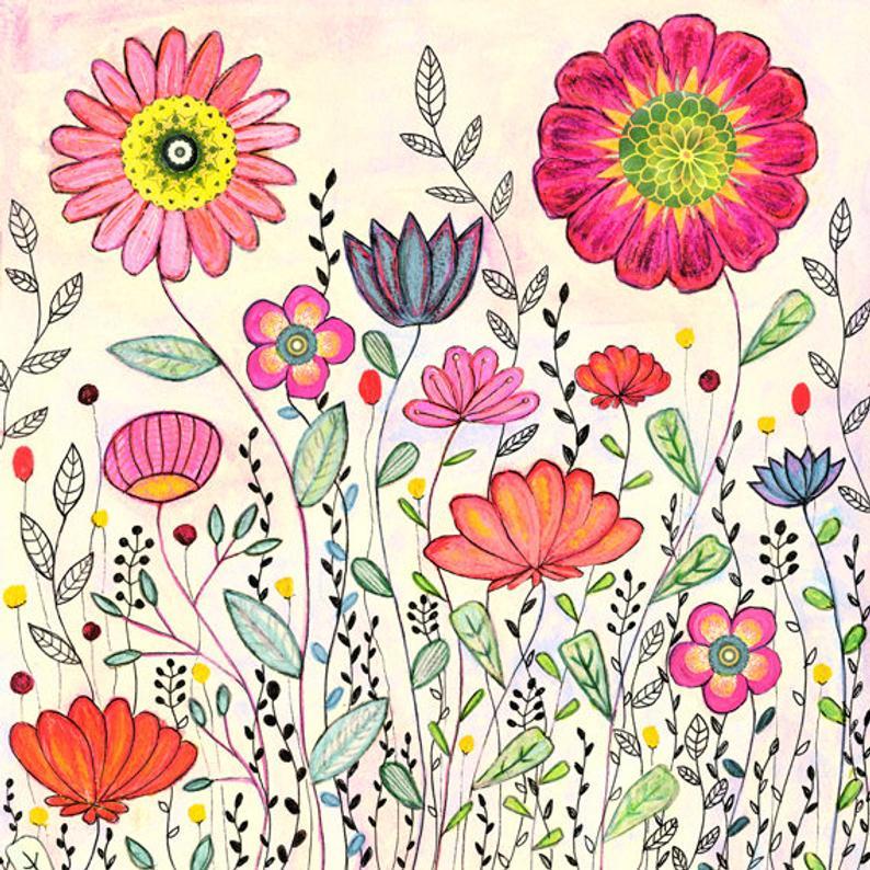 Large Art Print, Large Flower Art Print, Retro Flower Art Print, Floral Art  Print, Flower Painting, Modern Contemporary Flower Art.