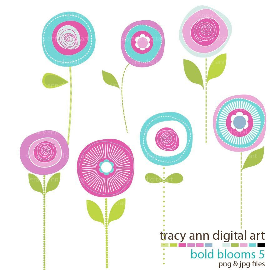Flower Clip Art Summer Blooms, @Alisa Simonson.
