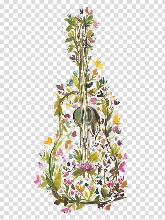 Yellow and pink petaled flower illustration, Guitar Modern.