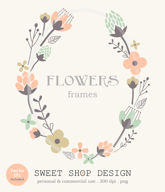 Flower Border Clip Art Frames Wedding By SweetShopDesign