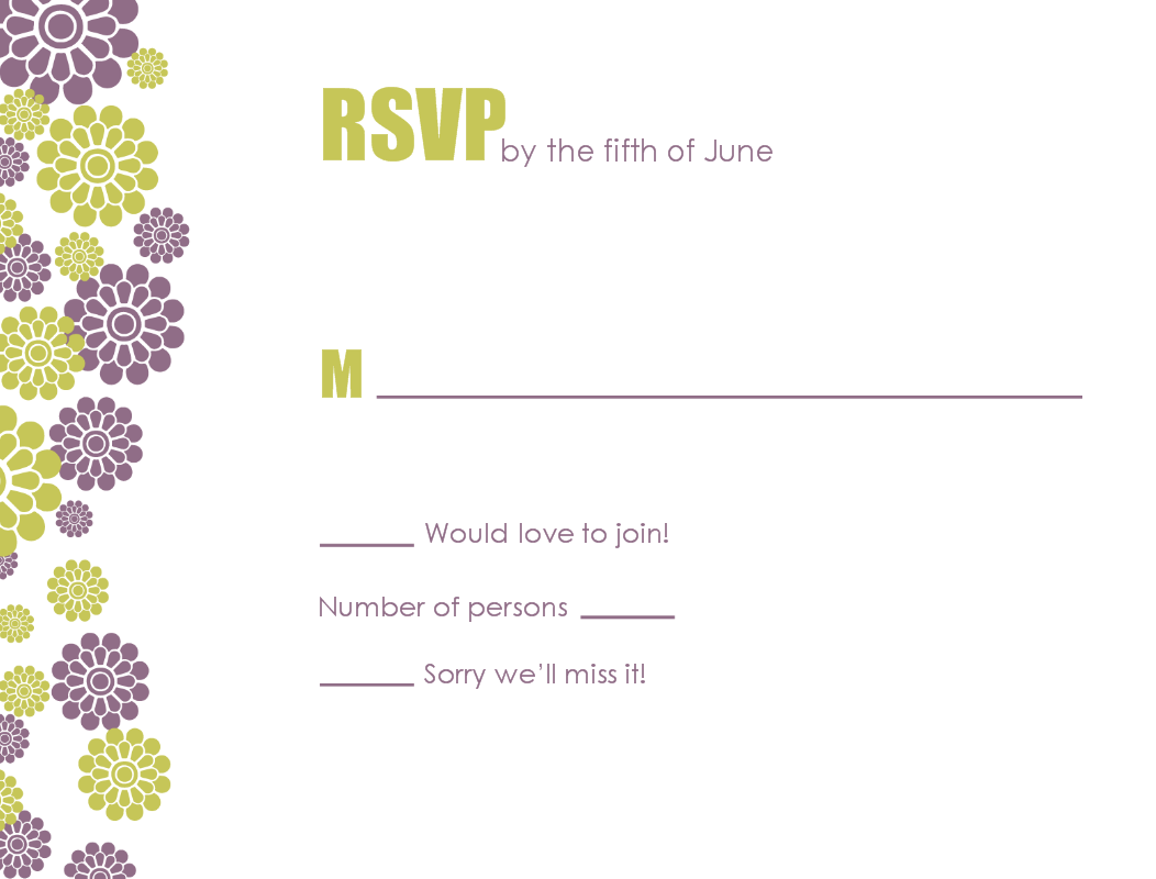Contemporary Wedding Response Card.