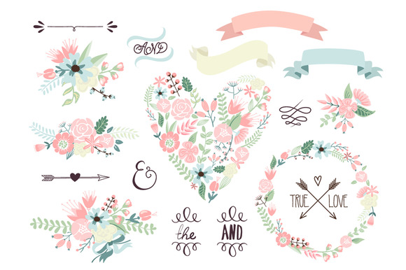 Wedding Floral clipart, Wreath heart.