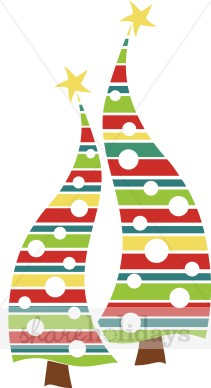 Modern Christmas Trees Clipart.
