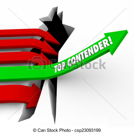 Stock Illustration of Top Contender Competitor Arrow Rising Best.