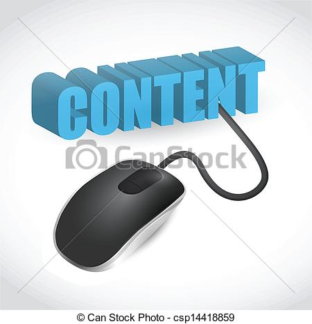 Clipart Vector of content sign and mouse illustration design over.