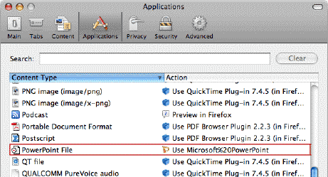 File types and download actions.