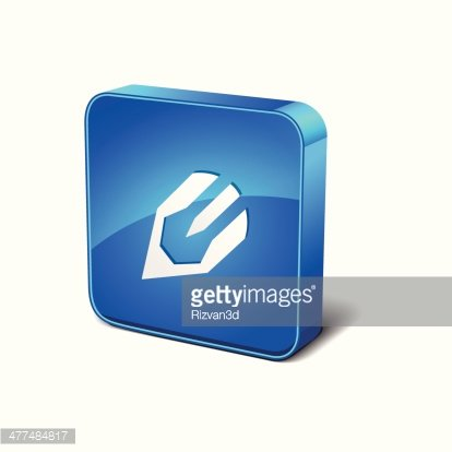 Content Writing 3d Rounded Corner Blue Vector Icon Button.