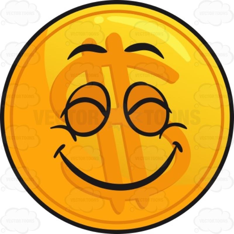 Pleasantly Contented Golden Coin Emoji Cartoon Clipart.