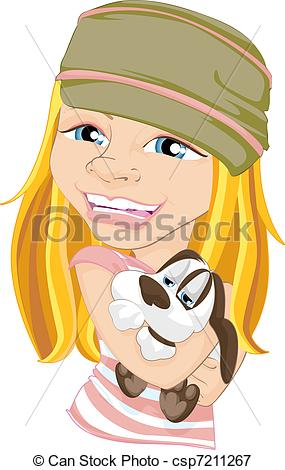 Stock Illustrations of Smiling Girl Hugging Pet Dog.