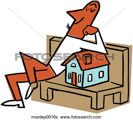 Stock Illustration of Contented Man With Home mardep0016s.
