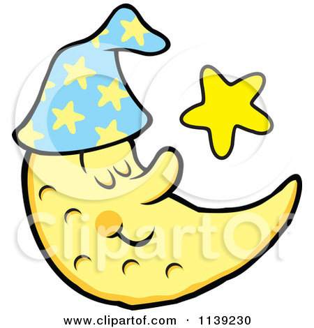 Cartoon Of A Content Sleeping Crescent Moon And Star.