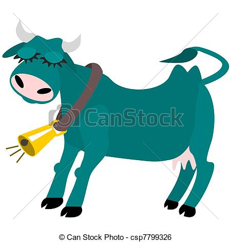 Clip Art Vector of Contented cow.