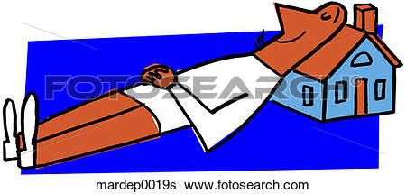 Stock Illustration of Contented Man With Home mardep0019s.