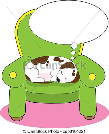 Vector Clip Art of Dog Dreaming.