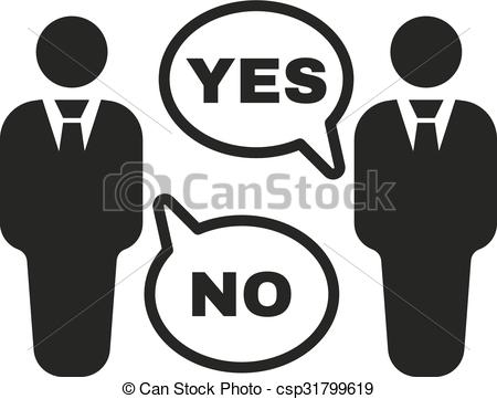 Vector Clip Art of The dispute icon. Dialog and negotiation.