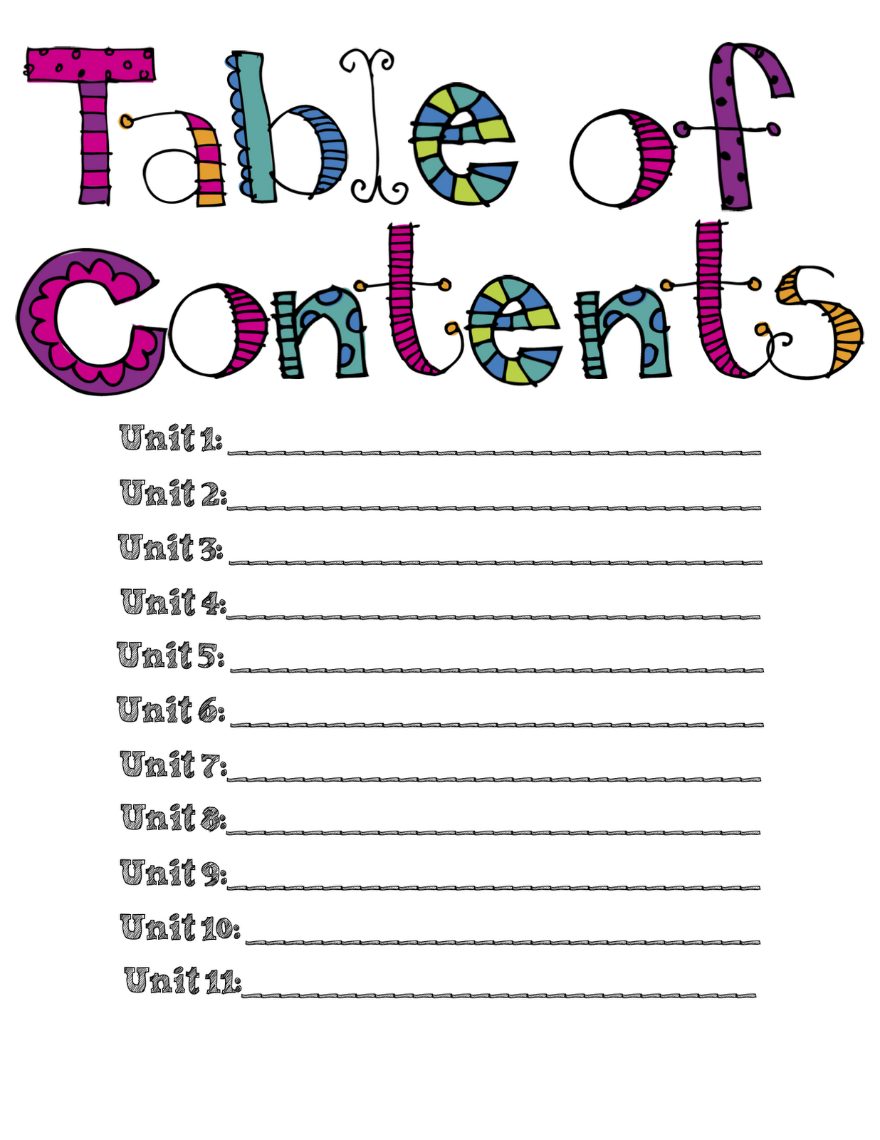 Table of contents clipart.