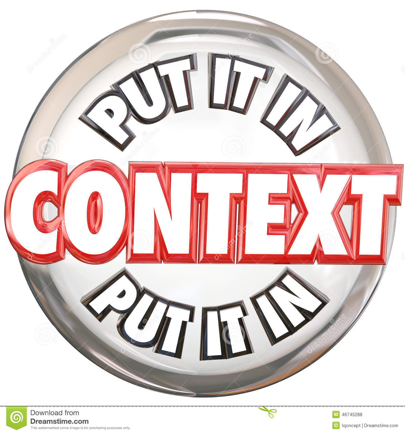 Put It In Context 3d Words Button Understand Meaning Stock.