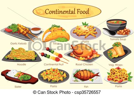 Collection of delicious Continental food.