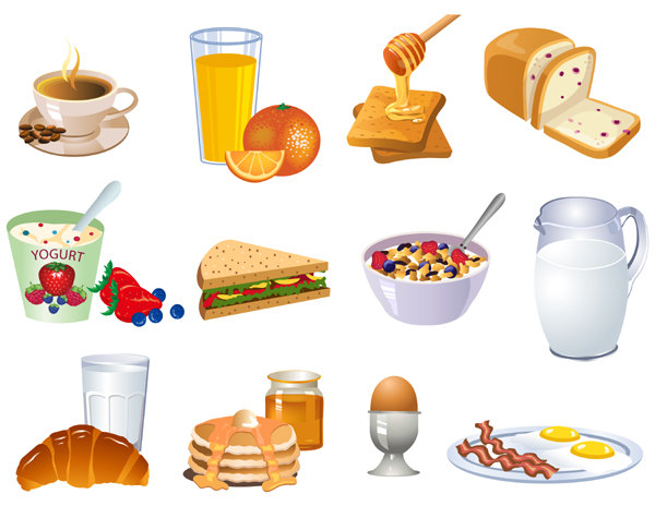 Free clipart continental breakfast food items.