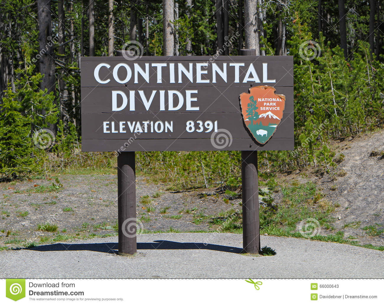 Continental Divide Sign Closeup Stock Photo.
