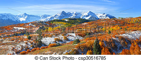 Pictures of Continental divide in autumn time near Ridge way.