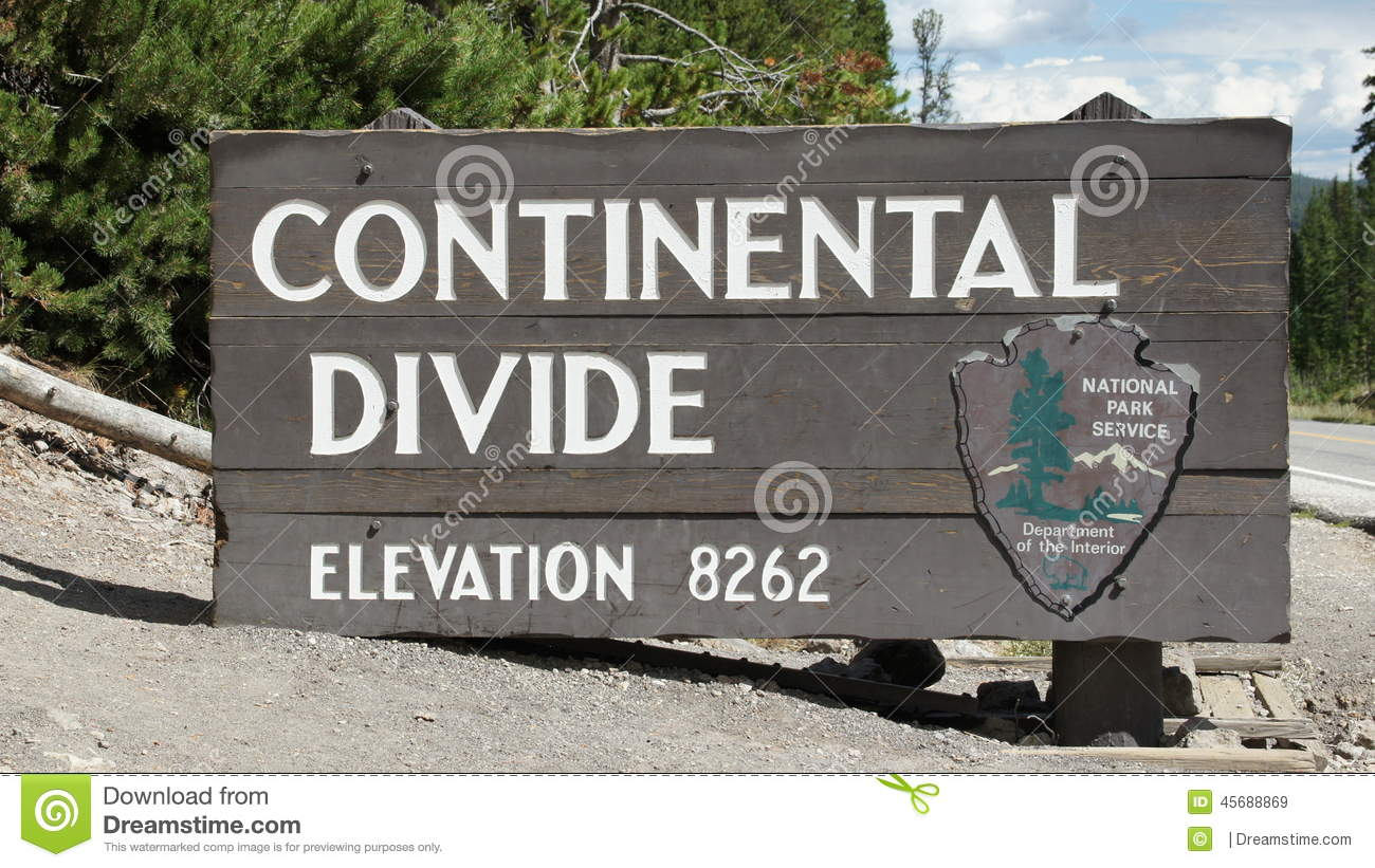 Continental Divide Sign Stock Images.