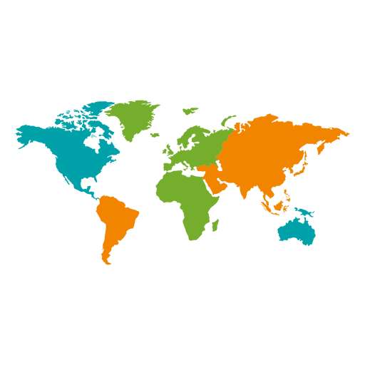 Different colored continental world map.