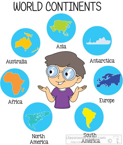 Continents clipart.
