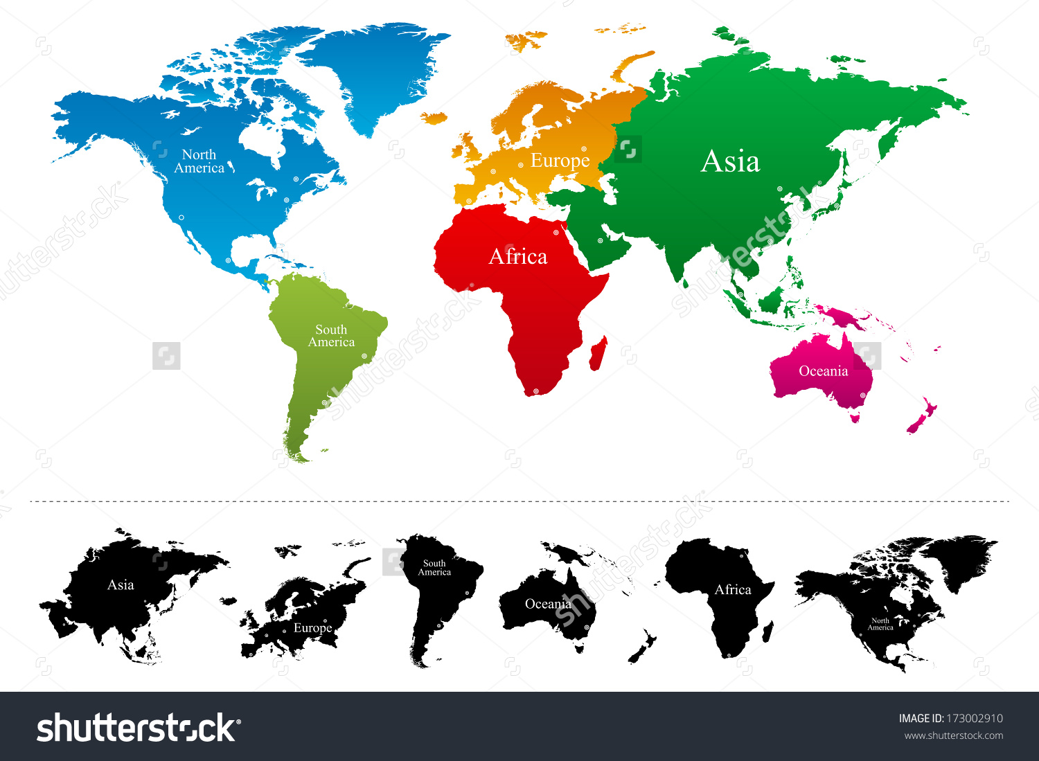 World map continents clipart.