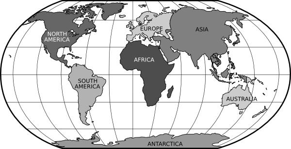 World Map Black And White Continents.
