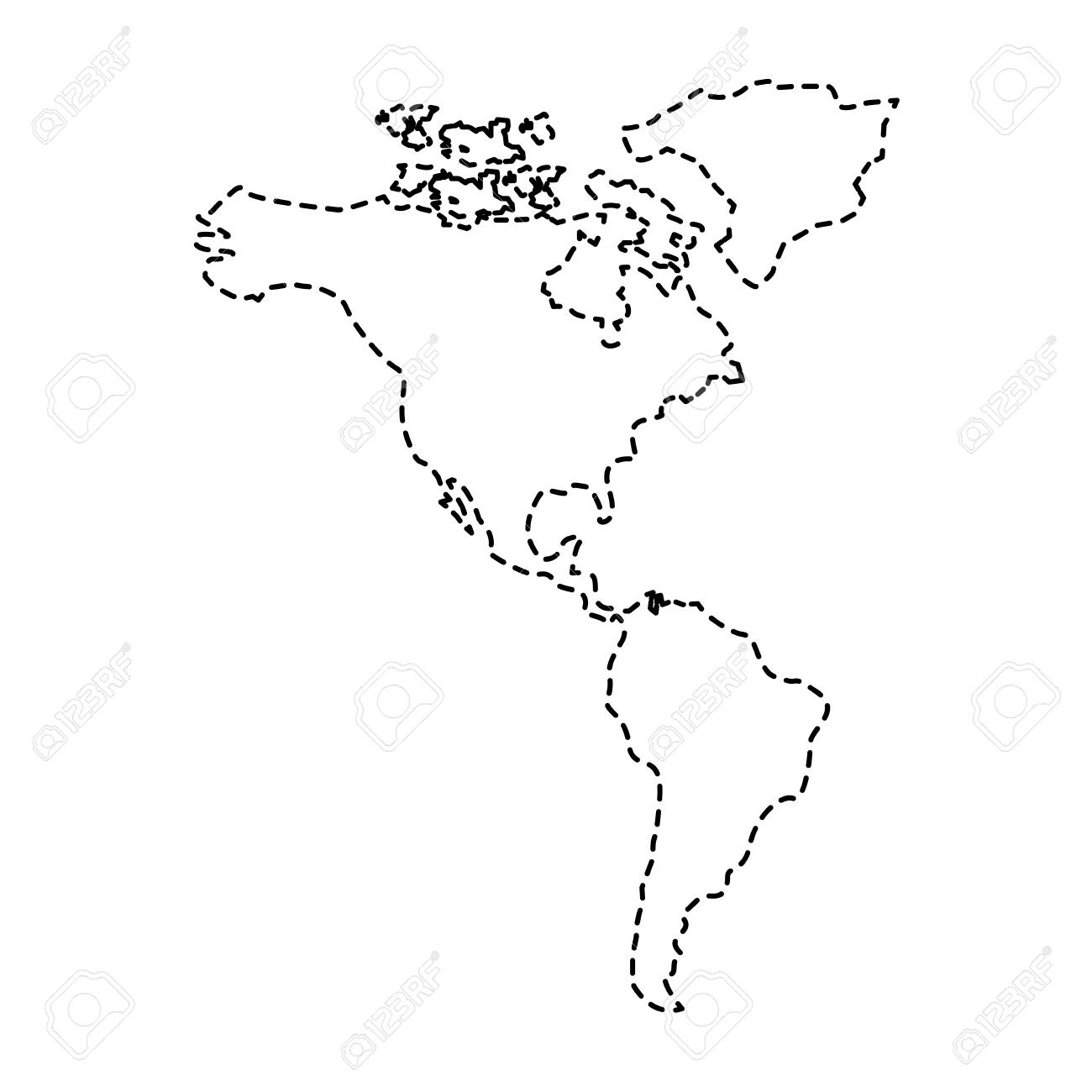north and south america map continent vector illustration sticker...