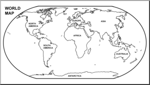 Clip Art: World Map Continents B&W Labeled I abcteach.com.