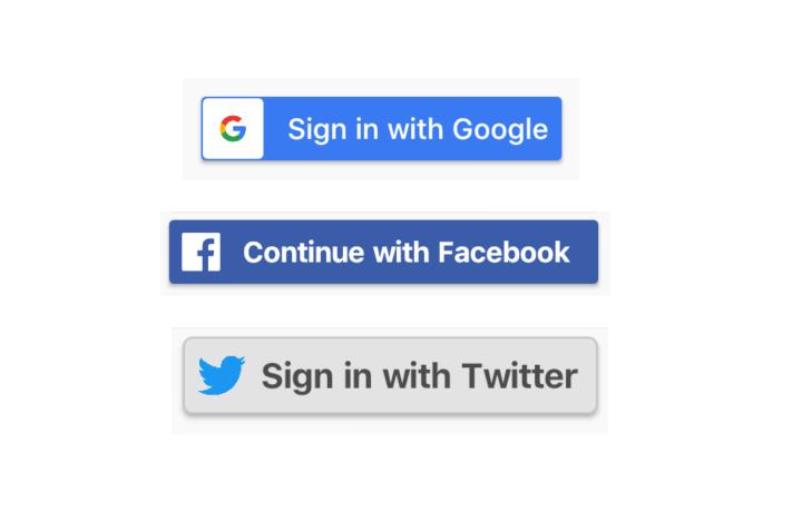 Flutter buttons for Facebook.