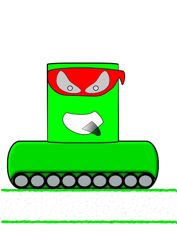 Free Clipart: Green Canman Ninja with a continuous track.