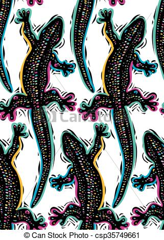 Clip Art Vector of Vector reptilian seamless pattern, lizards top.