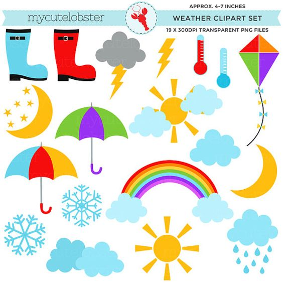 Weather Clipart Set.